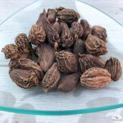 Smoky-flavored black cardamom is an exotic spice mainly used to flavor meat dishes.